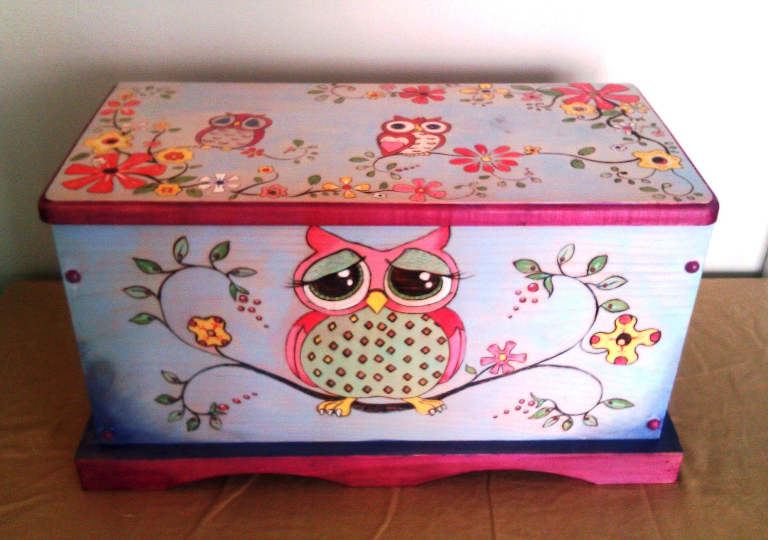 Items similar to Precious Owl-Hand Painted Hope Chest/Toy ...
