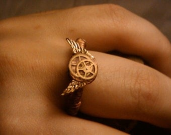 SteamPunk Air Corps Ring, Copper Wire Wrapped Winged Brass Clockwork Gears Mechanic Aeronaut Air Pirates