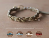 Hand braided suede & chain friendship bracelet