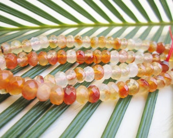 """Natural Carnelian Gemstone Beads - Faceted Rondelle 4mm x 6mm - Full Strand - 16"""""""