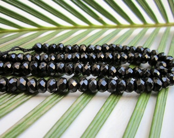 """Natural Onyx Gemstone Beads - Faceted Rondelle 4x6mm  - Full Strand - 16"""""""