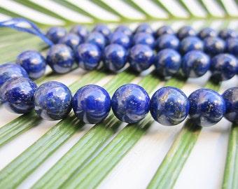 """Natural Lapis Lazuli Beads - Round 8mm Semi Precious Beads - Full Strand - 16"""""""