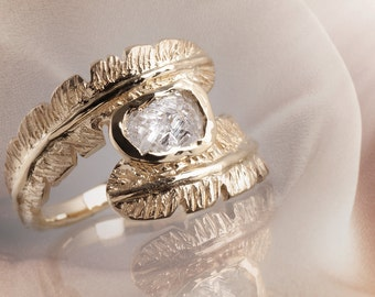 Feathered Ring, 0.70ct solid yellow gold, rough diamond, Unique Feather Ring Man Woman, Vintage Feathered 18K Gold Wedding Engagement Ring