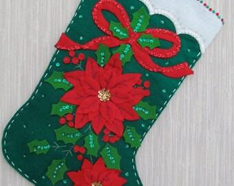 Elegant Poinsettia Completed Handmade Felt Christmas Stocking from Bucilla Kit