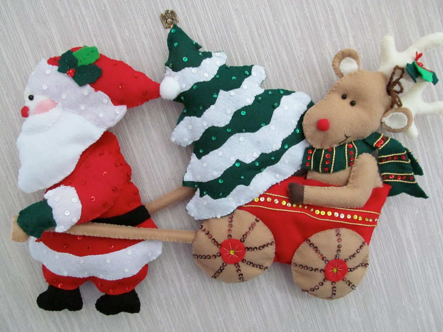 Rudolph and Santa Claus Felt Wall Hanging Decoration Completed Handmade from Bucilla Kit