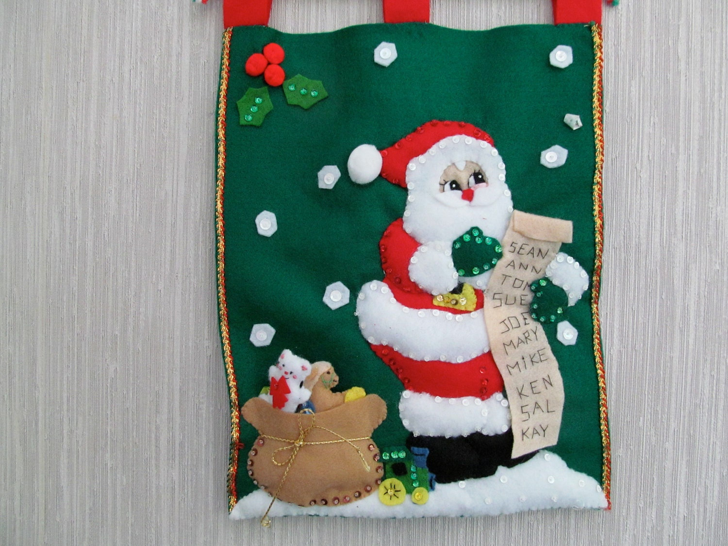 Santa's Toy List Felt Wall Hanging Decoration Completed Handmade from Bucilla Kit