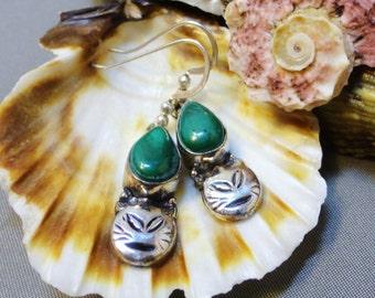 M E O W - Malachite and Silver Earrings
