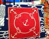 "12""x18"" hand sewn nautical fab pillow"