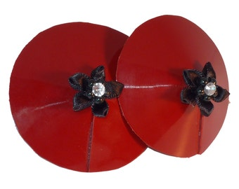 Custom Patent Red Leather Pasties with Flower