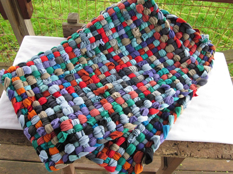 Potholder T Shirt Rag Rug 2x3 Bright By Chunkyragrugs On Etsy