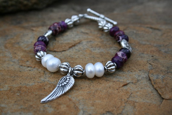 Freshwater Pearl with Eagle Wing, Purple Imperial Jasper