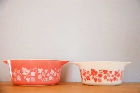 two pink & white gooseberry pyrex casserole dishes