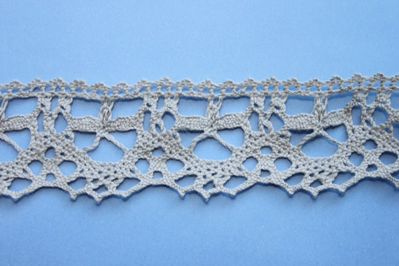 Grey cotton lace L12 5.4  yds wide  eco friendly soft organic natural