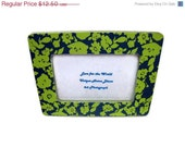 Labor Day Sale Fun Floral Frame - Picture Frame Decoupaged with a Midnight Blue and Parrot Green Floral Print - Holds a 4x6 Picture - Lovefortheworld