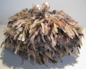Pink Furry Crochet Pouch Clip Bag/Purse/Clutch
