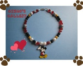 Mickey Mouse Crystal and Pearl Dog Necklace Size 10-11 inches.