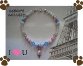 Ice Cream Cone Crystal and Pearl Dog Necklace 10-11 inches.