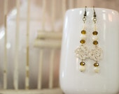 Sm. Ivory Crochet Flower & Bead Earrings