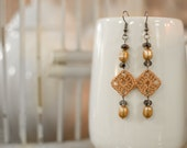 Sm. Vintage Coral Crochet Square & Bead Earrings