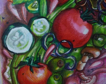 "SALE! Art Print of Whimsical Salad, Giclee Print of Original Water Color Painting, Small  Kitchen Wall Art,  8"" x 8"""