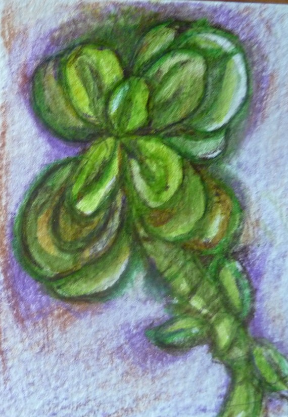 ACEO Jade Plant Original Watercolor, Jad Plant, Southwestern, Garden Art, Succulent, ACEO, Original Watercolor