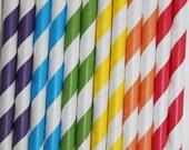 50 Rainbow Striped Paper Straws red yellow blue orange green purple  birthday party,wedding,cake pop sticks bonus diy straws flags
