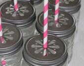 24 - Daisy Stamped Pewter Mason Jar LIDS vintage