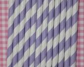 25 lavender stripe straws paper straws birthday party wedding cake pop sticks Bonus diy straw flags
