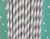 100 lt grey stripe straws  paper straws birthday party wedding cake pop sticks bonus diy straw flags