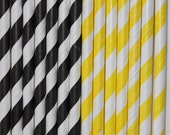 25 black yellow stripe straws paper straws birthday party bumble bee cake pop sticks Bonus diy straw flags