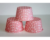 12 Lt.Coral polka dot baking cups,candy cups,nut cups,cupcake liners,treat favors