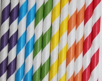 25 Rainbow Striped Paper Straws red yellow blue orange green purple  birthday party wedding cake pop sticks Bonus diy straws flags