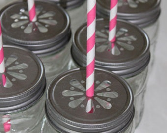 12 - Daisy Stamped Pewter Mason Jar LIDS vintage