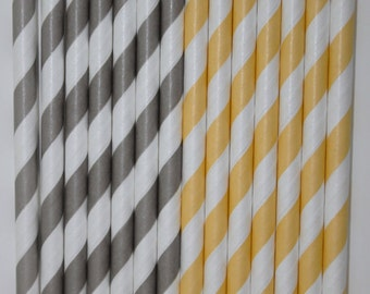 50 lt. yellow grey stripe Paper straws birthday party ,event cake pop sticks bonus diy flags