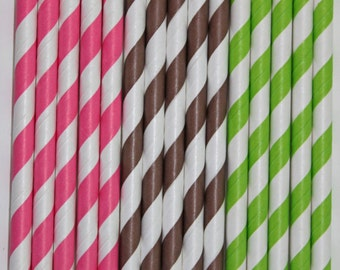 25 monkey girl hot pink brown lime green stripe straws paper straws birthday party wedding cake pop sticks Bonus diy straw flags