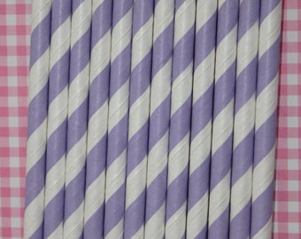 100 lavender stripe straws paper straws birthday party wedding cake pop sticks Bonus diy straw flags