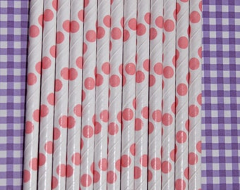 25 lt pink polka dot straws paper straws birthday party wedding cake pop sticks bonus diy straw flags