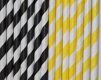25 black yellow stripe straws paper straws birthday party bumble bee cake pop sticks Bonus diy straw flags