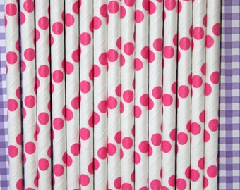 25 hot pink polka dot straws paper straws birthday party event cake pop sticks Bonus diy straw flags