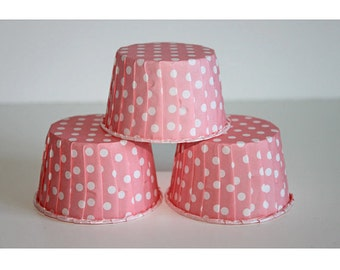 24 lt coral polka dot baking cups,candy cups,nut cups,cupcake liners,treat favors
