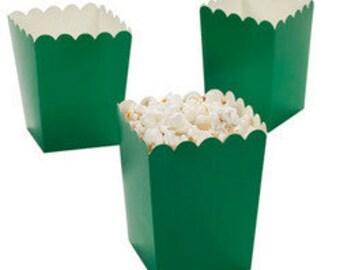 12 Mini green  popcorn boxes treat favors