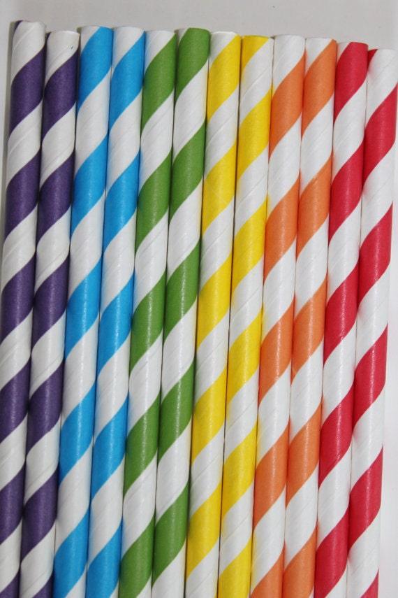 25 Rainbow Striped Paper Straws red yellow blue orange green purple  birthday party wedding cake pop sticks Bonus diy straws flags