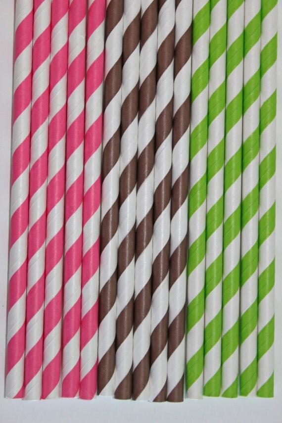50 monkey girl hot pink brown lime green stripe straws paper straws birthday party wedding cake pop sticks Bonus diy straw flags
