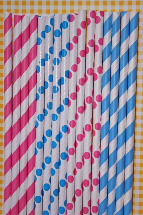 25 hot pink aqua polka dot stripe straws paper straws birthday party wedding cake pop sticks Bonus diy straw flags
