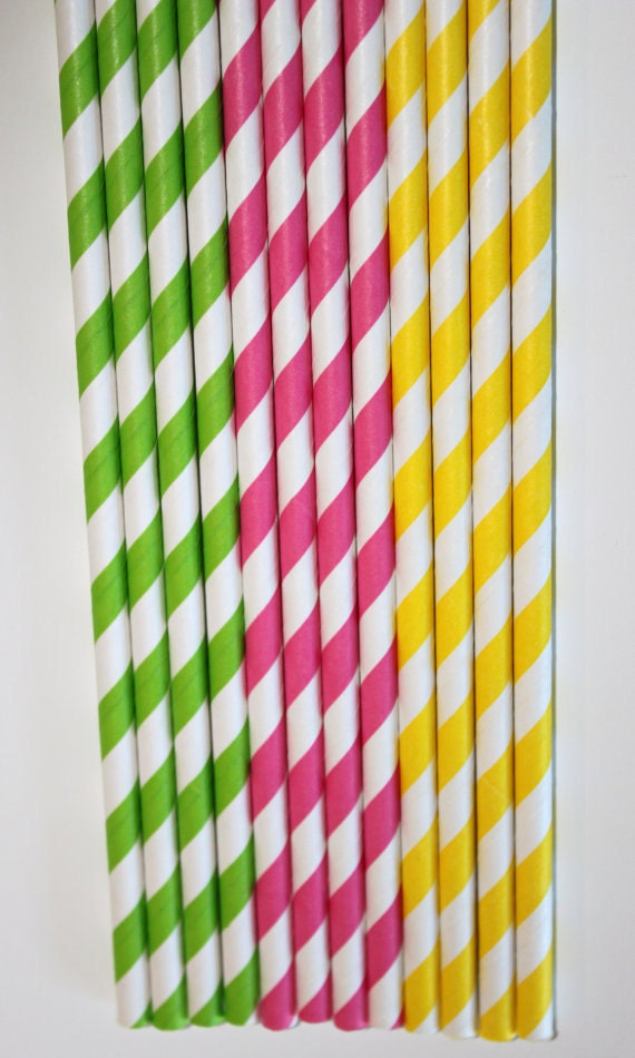100  lime green hot pink yellow stripe paper straws  Bonus DIY Flags