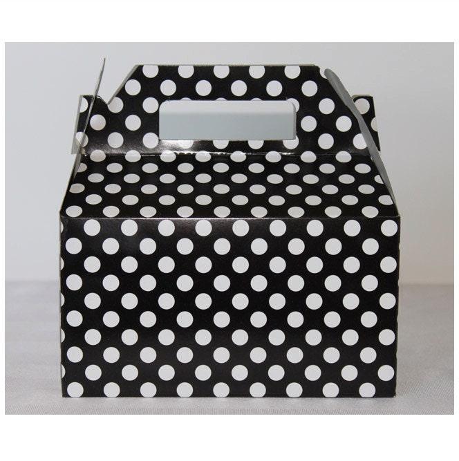 Black white polka dot gable treat boxes 6 minnie mouse for Black box container studios