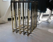 1970s Brass and Chrome Caged Side Table Base