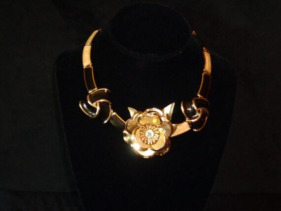 Elegant Vintage Gold & Black Rose Neck Piece