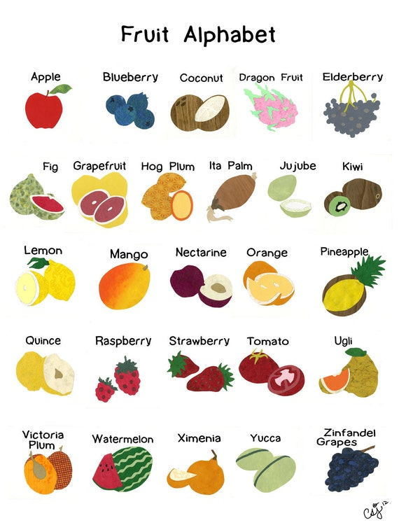 fruits that start with the letter a items similar to fruit alphabet on etsy 21910
