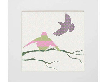 Print - Shetland Starling, pink and green bird